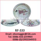 8' Angle Designed Round Promotion Decorative Ceramic Plate for Personalized Side Plate