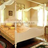 Designs of king/queen size princess bed frame with pillars solid wood bed room furniture set