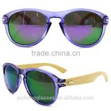 2015 fashion design natural bamboo temple sunglasses with PC frame unique eyewear factory cheap sale