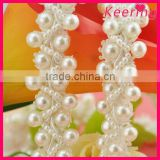 2015 Newest Fancy pearl and bead braided trim for wedding WTP-1207