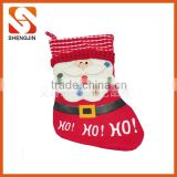 SJ-6929 New arrival Ho Ho Ho print 2016 fleece santa Christmas stocking