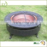 Outdoor fire pit iron cast stand-metal fire pit with copper plated sheet metal bowl/outdoor fire pit