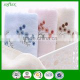 manufacturer wholesale 32s2 cut velvet pile towel cotton terry towel with artificial embroidered roses plum flowers