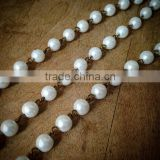 100cm Round Faceted Pearl White Bead Necklace Chain 8mm Bead Antique Bronze Chain Jewelry Making Supplies