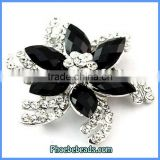 Wholesale Enamel Flower Brooches With Shiny Crystals PFB-W014