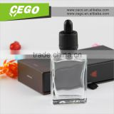 rectangular 100ml gold cap black glass perfume dropper bottle