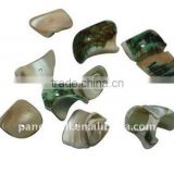 Sea Shell Beads, Dyed, Ivory, about 12~22x10~22x2~4mm, hole: 2mm, about 920pcs/500g(BSHE-S002-9)