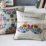 2015 Feathers Design Linen Printed Cushion Cover Pillow Case