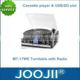 Most Popular High End 3 Speed Turntable Record Player With Radio, Cassette Player & USB/SD Slot