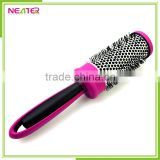 rubber handle mixed boar bristle round ball brush hair brush for salon use