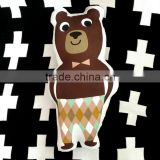 creative lovely cartoon style radio wave panda brown bear and hook robot plush toy back pillow cushion