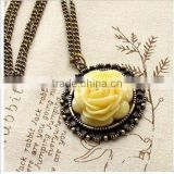 Womens Vintage Bronze Acrylic Flower Pendant Necklace Long Chain Jewelry Gift