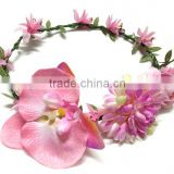 Handmade Silk Flowers Orchid Head Wreath Flower Garland For bridal Wedding and Hawaii Holiday