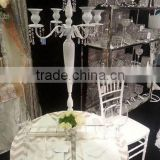 White wedding candelabra with hanging crystal / Table top candelabra / candelabra with hanging crystals