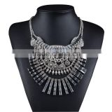 New Design Bohemian Vintage Silver Necklaces Pendants Multi-color Statement Necklace Crystal Tassels Pendant Jewelry