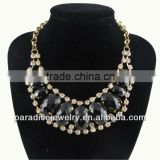 Vintage Gold Chain Oval Resin with Rinestone Necklace-N330050