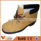 Impact proof boots Yellow nubuck cow leather Rubber sole industrial Steel Toe workman safety shoes