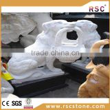 White decorative stone fu dog statue