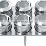 stainless steel condiment set with stand , 6pcs condiment set with mirror polishing,stainless steel spice container with ss rack