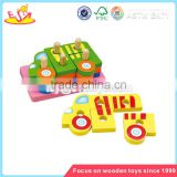 Wholesale car shape kids wooden blocks puzzle toy educational baby wooden blocks puzzle game W13D035