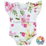 Wholesale Baby Girls Flower Ruffle Sleeve Clothing Newborn Romper Jumpsuit Baby Cotton Rompers