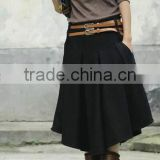 New arrival autumn winter spring wool skirt for women plus size mid long skirt high waist pleated skirts