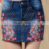 National wind embroidery rivet jeans skirt Mini Skirt