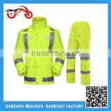 2016 Lime Green Taffeta Windbreaker 100% Waterproof Safety Raincoat With Reflective Tapes