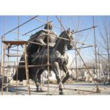 Modern type brass golden color sculpture, general bronze statues for city decor, man and horse figurines