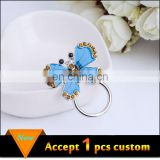 Fashion jewelry wholesale silver plating blue enamel yellow rhinestone butterfly magnetic eyeglass holder
