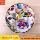 TX218 PLASTIC SNACK PLATE WITH GOLDEN RING CAKE TRAY CHEAP PLATE