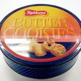 Round butter cookie tin box