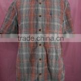 Multiple colour plaid casual shirt with button-down mens short sleeve workwear shirt