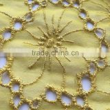 HOLLOW EMBROIDERY DESIGN ON 100%SILK GEORGETTE FABRIC WITH MATCHING THREAD