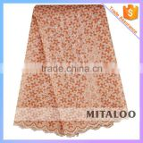 Mitaloo MOG0196 Nice Style African Organza Embroidery Lace Fabric In Peach Color