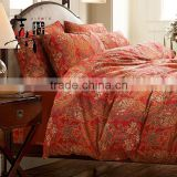 High quality wholesale red color wedding duvet bedding set cotton jacquard bedding set