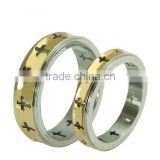 Stainless steel wedding ring with Cross Pattern and gold plating