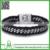 Stainless Steel Chain Interwoven Braided PU Leather Mix Warp Bracelet with Mens Steel Clasp