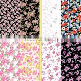 Flower designs painting fashion dress fabric / 4 way stretch nylon lycra spandex print underwear fabric with flower