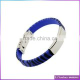 Rubber bangle tiger pattern big promotion blue silicone stainless steel bracelet bangle for young