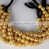 AAA Beautiful Natural 24k Gold Plated Copper Rondelle Melon Hollow Beads Finding Beads 7 inch 8mm Matte Finish Beads