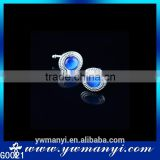 Professional Custom design logo fancy elegant blue opal sliver cufflink G0021                                                                         Quality Choice
