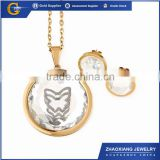 CCJS0033 CZ Stone Factory Fashion Stainless Steel Butterfly Jewelry Set