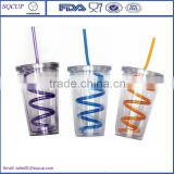 16oz Acrylic Insulated Plastic Drink Cup Glass Lid with Spiral Straw Sports Travel Tumbler                                                                         Quality Choice