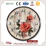 Simple pink roses and garden birdcage pattern decoration quartz wall clock for supermarket