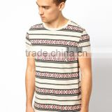 White 100% Pure Soft Cotton All Over Print T-shirt with Aztec Pattern Bangladesh Factory