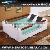 Glass bathtub with wooden handrest for hot tub
