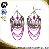 Glass beads chandelier earrings with 2015 fashion latest design plated in gold chains jewelry made in Yiwu