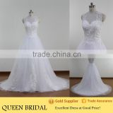Ball Gown Sleeveless Appliqued Lace See Through Back Ladies Wedding Dress Vestidos De Novia China