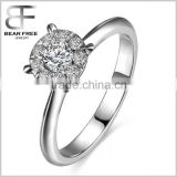 925 Sterling Silver 4 claws Setting with Clear Cubic Zirconia Stones Ladies ring Fashion Jewelry